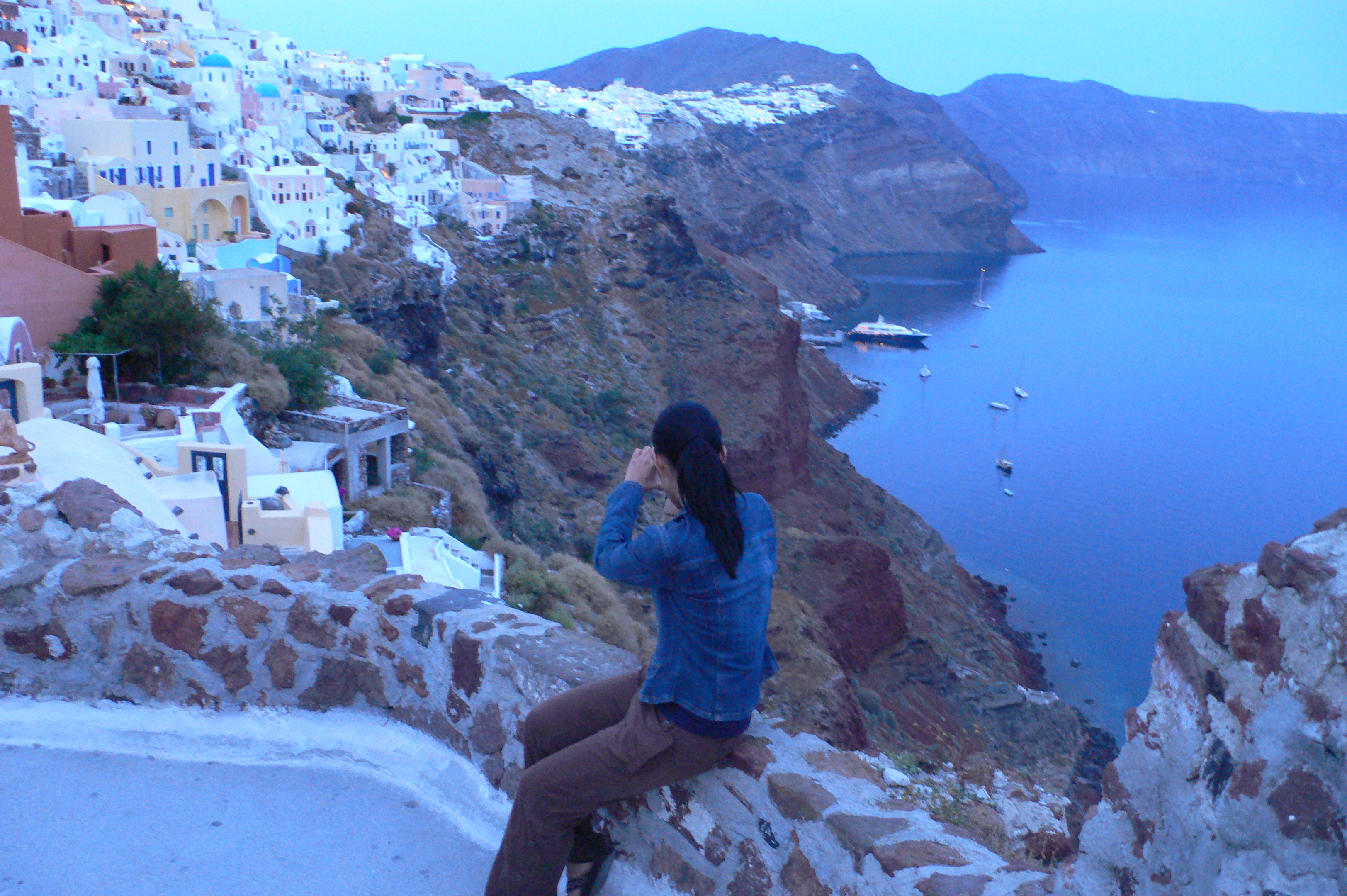 taking pictures of beautiful oia
