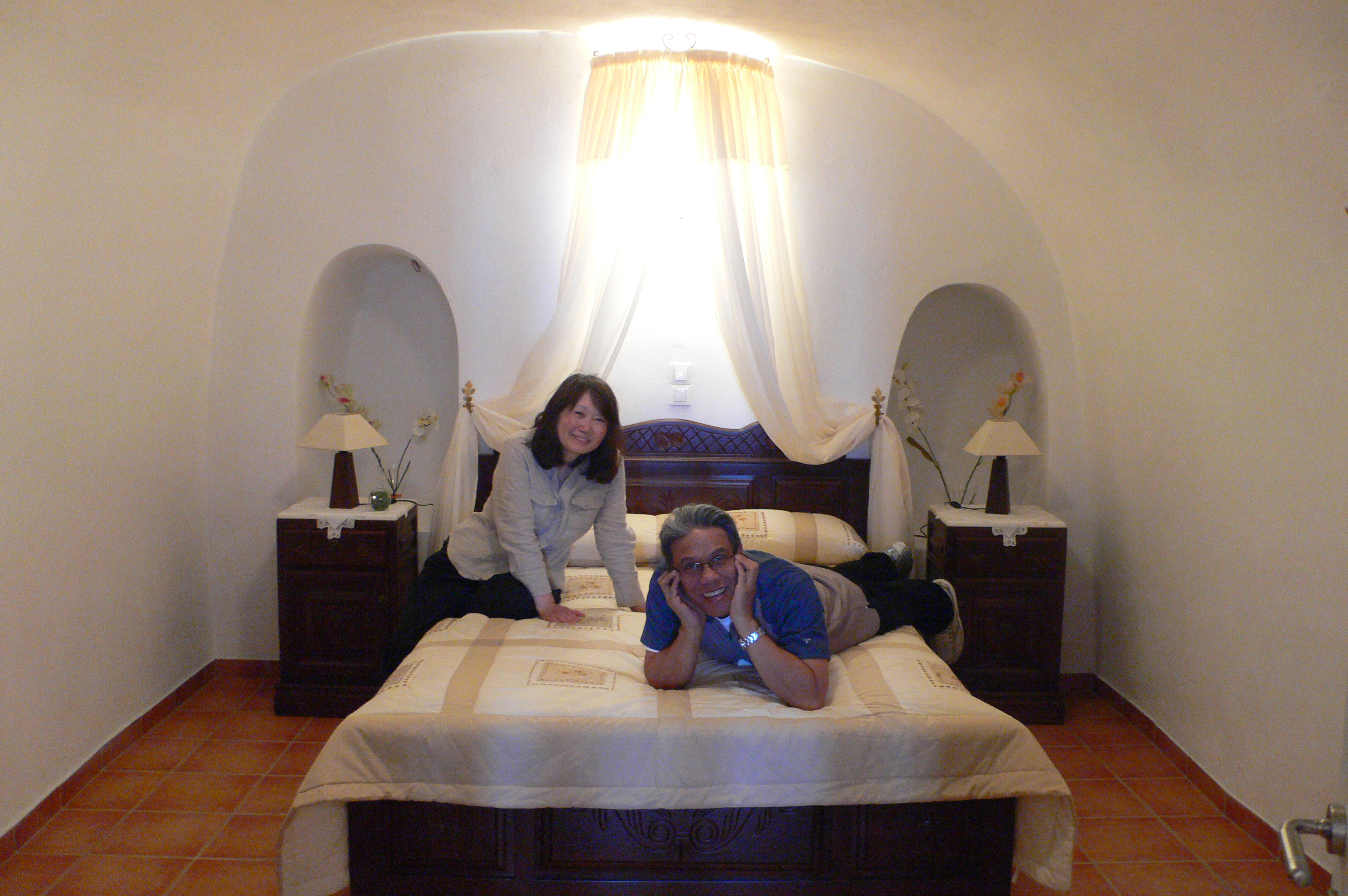 mom and dad in their cave bedroom